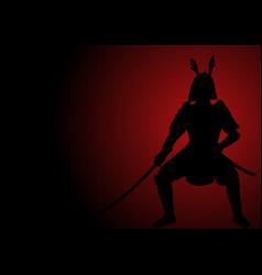 silhouette of an armored samurai vector image