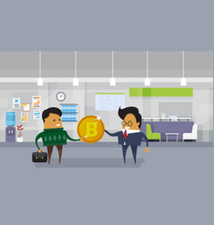 asian business man giving employee worker bitcoin vector image
