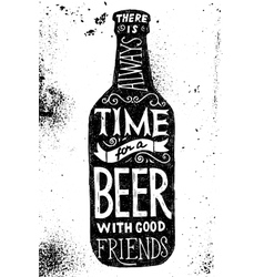 Beer bottle with type design vector image