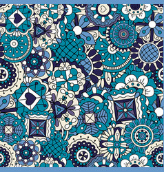 blue doodle pattern vector image vector image