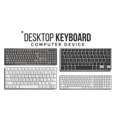 desktop keyboard set wireless modern vector image