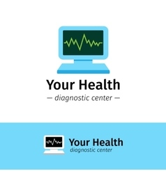 Flat medical center logo diagnostic vector