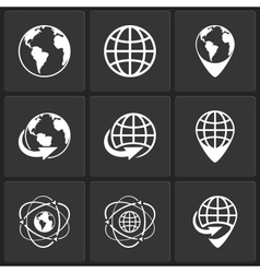 globe earth world icons vector image