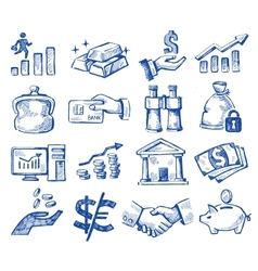 hand drawn money and business vector image vector image