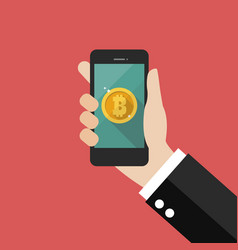 hand holding smartphone with bitcoin currency vector image