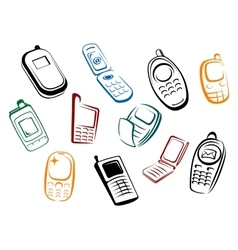 Modern and retro mobile phones icons vector image vector image