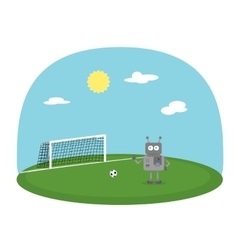 Robot boy playing football on green ground Soccer vector image