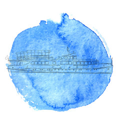 ship at blue watercolor background vector image vector image
