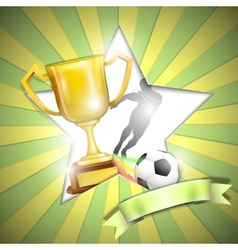 Soccer Poster With Trophy Cup vector image vector image