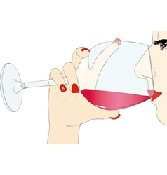 Tasting red wine vector image vector image