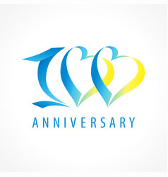 100 anniversary logo heart vector