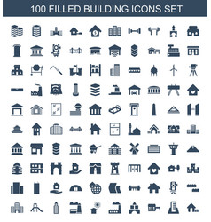 100 building icons vector image