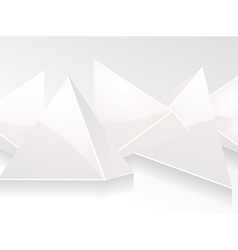 3d white glass pyramid background vector