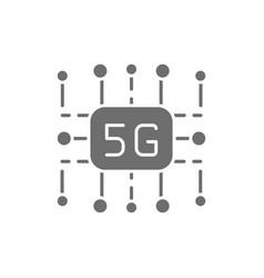 5g internet technology wireless chip grey icon vector