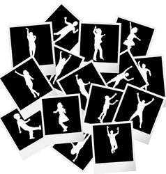 A pile of photo frames with children silhouettes vector image