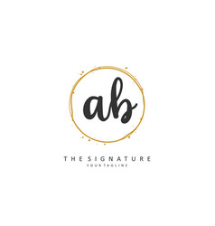 Ab initial letter handwriting and signature logo vector