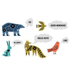 animal speak set vector image