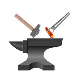 Anvil with hammer and tongs vector