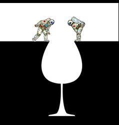 Astronauts on edge glass wine silhouette vector