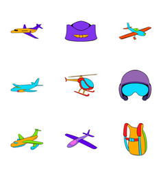 aviator icons set cartoon style vector image