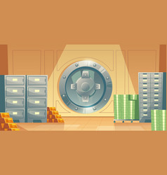 Bank vault background with money gold vector