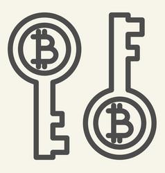 bitcoin key line icon bitcoin security vector image