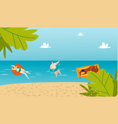 bodypositive people in summer swimming in sea vector image