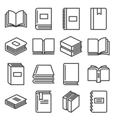 book icons set on white background line style vector image