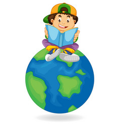 boy reading book on earth vector image