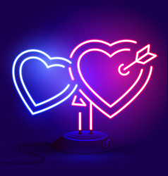 bright heart neon sign retro neon heart sign vector image