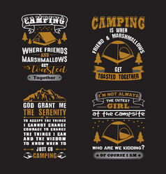 Camping quote and saying set vector