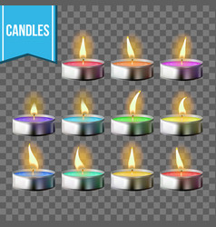 candles set tea light metal cup vector image