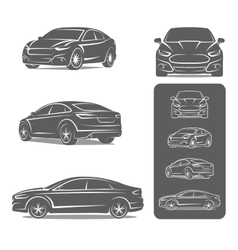 Car icons set modern sedan vector