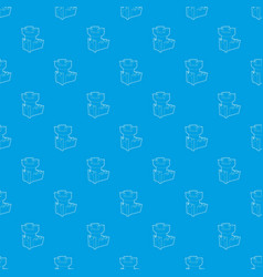 Castle tower pattern seamless blue vector