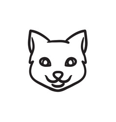 Cat head sketch icon vector