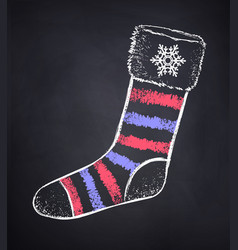 Chalked striped christmas sock vector