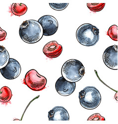 Cherry and blueberry seamless pattern vector