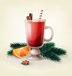 christmas beverage mulled wine with spices vector image
