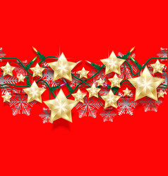 christmas seamless horizontal pattern of stars vector image