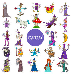 Comic fantasy characters large set vector