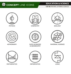 Concept Line Icons Set 7 Natural formal sciences vector image