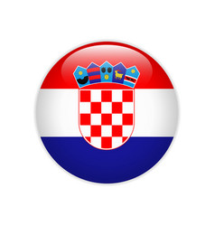 croatia flag on button vector image