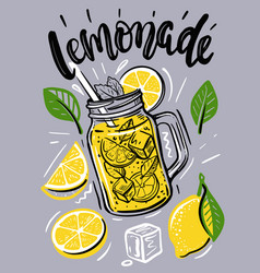Cup with lemonade sketch for your design vector