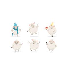 cute cartoon sheep set farm wooly vector image