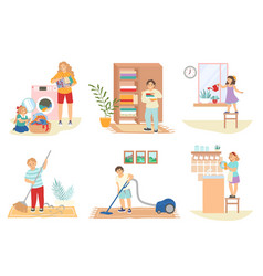 cute kids doing housework cleaning house doing vector image