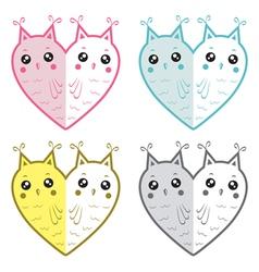 Cute owls-hearts vector image