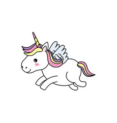 Cute unicorn with horn and wings design vector