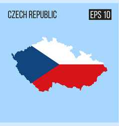 czech republic map border with flag eps10 vector image