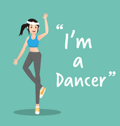 Dancer character on green background flat design vector