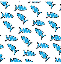 doodle tropical tuna fish animal background vector image